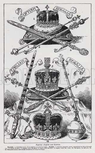 Regalias, English and Scottish. Illustration for The Harmsworth Encylopaedia (c 1922).