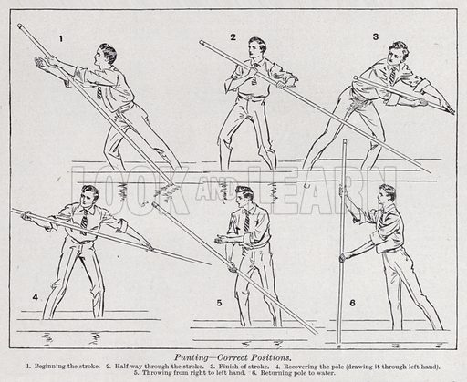 Punting, correct positions. Illustration for The Harmsworth Encylopaedia (c 1922).