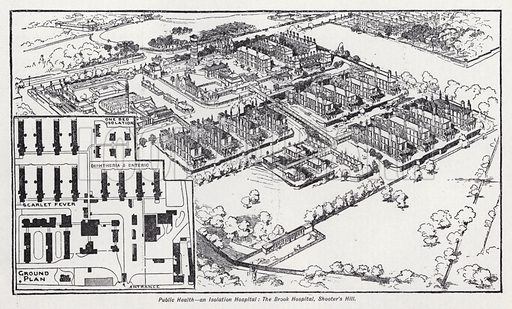 Public health, an isolation hospital, the Brook Hospital, Shooter's Hill. Illustration for The Harmsworth Encylopaedia (c 1922).