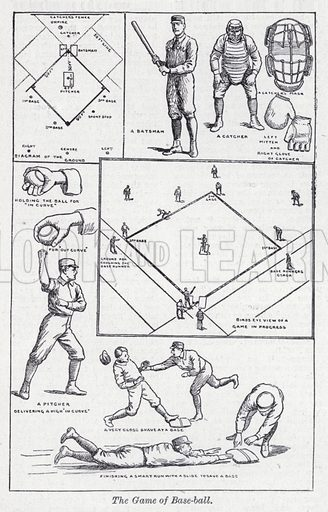 The game of Base-ball. Illustration for The Harmsworth Encylopaedia (c 1922).