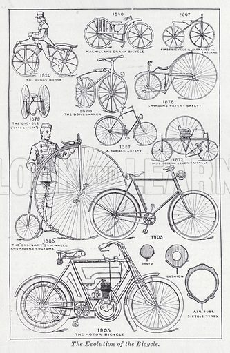 The evolution of the bicycle. Illustration for The Harmsworth Encylopaedia (c 1922).