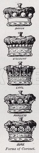 Forms of coronet. Illustration for The Harmsworth Encylopaedia (c 1922).