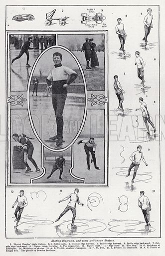 Skating diagrams, and some well-known skaters. Illustration for The Harmsworth Encylopaedia (c 1922).