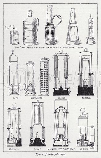 Types of safety-lamps. Illustration for The Harmsworth Encylopaedia (c 1922).