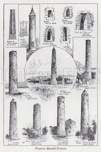 Famous round towers. Illustration for The Harmsworth Encylopaedia (c 1922).