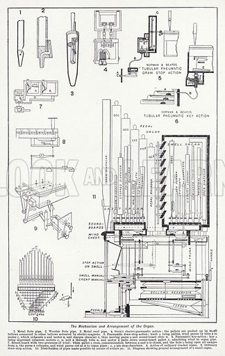 The mechanism and arrangement of the organ. Illustration for The Harmsworth Encylopaedia (c 1922).