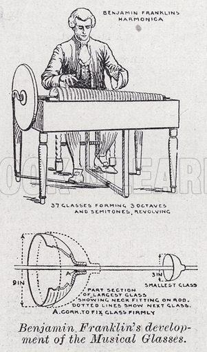 Benjamin Franklin's development of the musical glasses. Illustration for The Harmsworth Encylopaedia (c 1922).