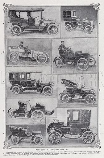 Motor cars, Touring and town cars. Illustration for The Harmsworth Encylopaedia (c 1922).