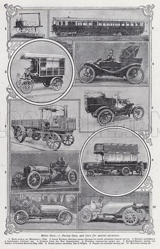 Motor cars, Racing cars, and cars for special purposes. Illustration for The Harmsworth Encylopaedia (c 1922).
