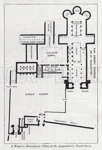 A Western monastery, plan of St Augustine's, Canterbury. Illustration for The Harmsworth Encylopaedia (c 1922).