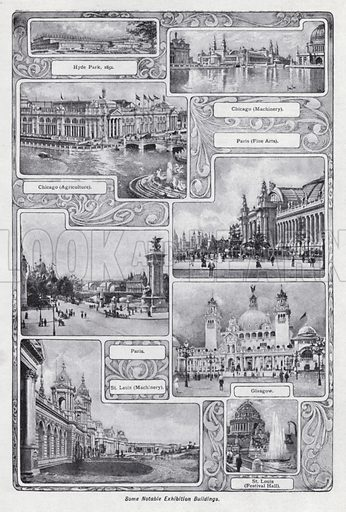 Some notable exhibition buildings. Illustration for The Harmsworth Encylopaedia (c 1922).