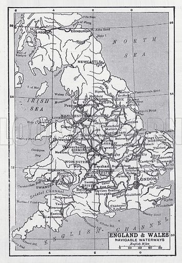 England and Wales, navigable waterways. Illustration for The Harmsworth Encylopaedia (c 1922).