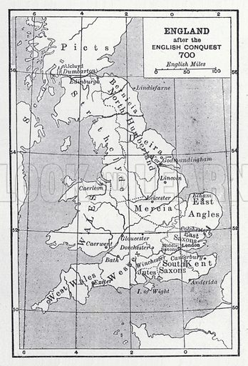 England after the English conquest 700. Illustration for The Harmsworth Encylopaedia (c 1922).