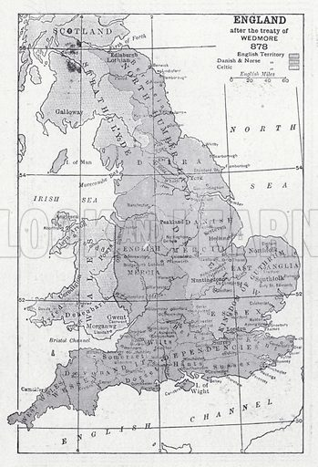 England after the treaty of Wedmore 878. Illustration for The Harmsworth Encylopaedia (c 1922).