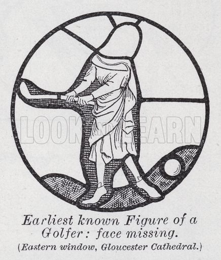 Earliest known figure of a golfer, face missing, Eastern window, Gloucester Cathedral. Illustration for The Harmsworth Encylopaedia (c 1922).