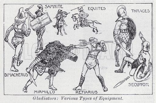 Gladiators, varoius types of equipment. Illustration for The Harmsworth Encylopaedia (c 1922).
