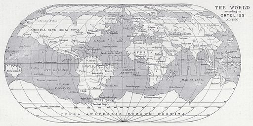 The world according to Ortelius, AD 1570. Illustration for The Harmsworth Encylopaedia (c 1922).
