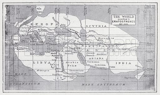 The world according to Eratosthenes, BC 220. Illustration for The Harmsworth Encylopaedia (c 1922).
