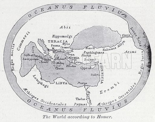 The world according to Homer. Illustration for The Harmsworth Encylopaedia (c 1922).