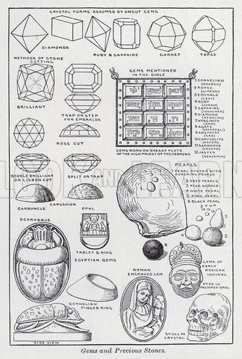 Gems and precious stones. Illustration for The Harmsworth Encylopaedia (c 1922).