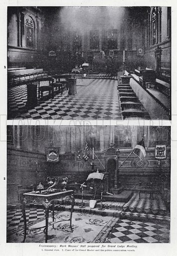 Freemasonry, Mark Masons' Hall prepared for Grand Lodge Meeting. Illustration for The Harmsworth Encylopaedia (c 1922).