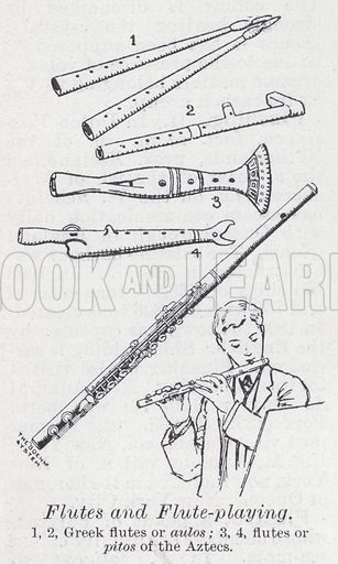 Flutes and flute-playing. Illustration for The Harmsworth Encylopaedia (c 1922).