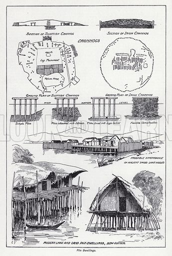 Pile dwellings. Illustration for The Harmsworth Encylopaedia (c 1922).