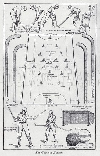 The game of hockey. Illustration for The Harmsworth Encylopaedia (c 1922).