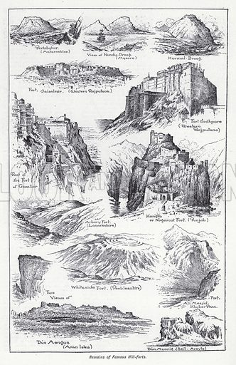 Remains of famous hill-forts. Illustration for The Harmsworth Encylopaedia (c 1922).