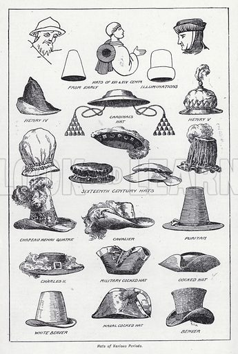 Hats of various periods. Illustration for The Harmsworth Encylopaedia (c 1922).