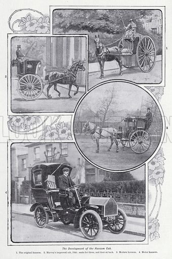 The development of the hansom cab. Illustration for The Harmsworth Encylopaedia (c 1922).
