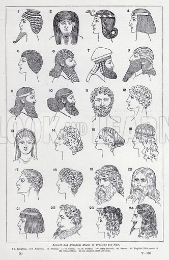 Ancient and Mediaeval modes of dressing the hair. Illustration for The Harmsworth Encylopaedia (c 1922).
