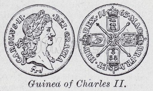Guinea of Charles II. Illustration for The Harmsworth Encylopaedia (c 1922).