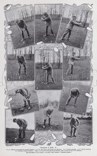 Positions in golf. Illustration for The Harmsworth Encylopaedia (c 1922).
