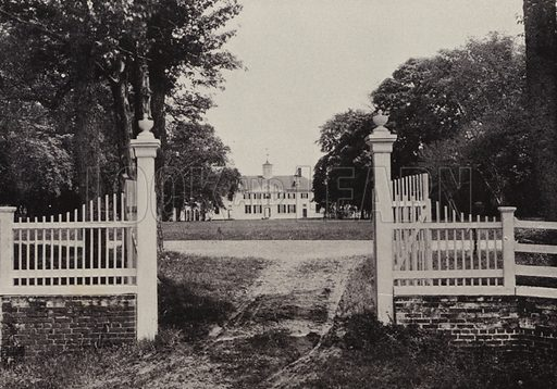 Entrance Gate. Illustration for An Illustrated Handbook of Mount Vernon, The Home of Washington (L Windsor House, 1899).