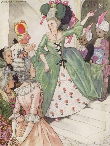 """The Tinder Box. """"No, there, my dear,"""" said the Queen. Illustration for Stories from Hans Andersen (Blackie, c 1950)."""