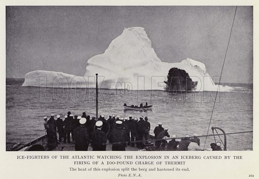 Ice-fighters of the Atlantic watching the explosion in an iceberg caused by the firing of a 100-pound charge of thermit. Illustration for More Heroes of Modern Adventure by T C Bridges and H Hessell Tiltman (Harrap, 1929).