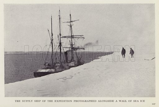 The supply ship of the expedition photographed alongside a wall of sea ice. Illustration for More Heroes of Modern Adventure by T C Bridges and H Hessell Tiltman (Harrap, 1929).