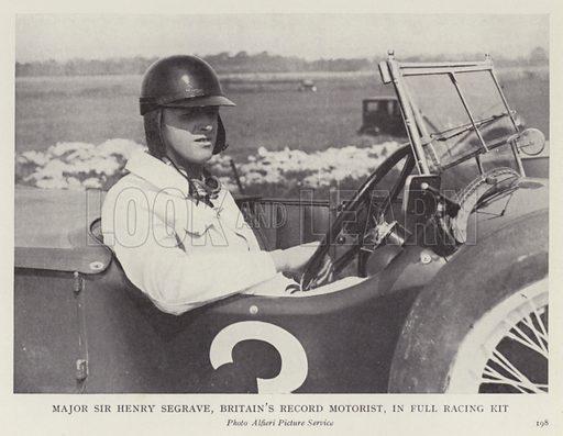 Major Sir Henry Segrave, Britain's record motorist, in full racing kit. Illustration for More Heroes of Modern Adventure by T C Bridges and H Hessell Tiltman (Harrap, 1929).