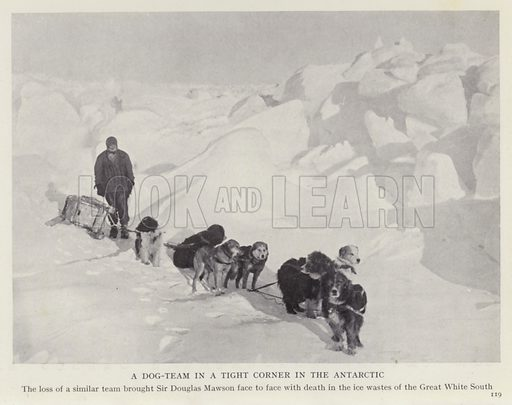 A dog-team in a tight corner in the Antarctic. Illustration for More Heroes of Modern Adventure by T C Bridges and H Hessell Tiltman (Harrap, 1929).