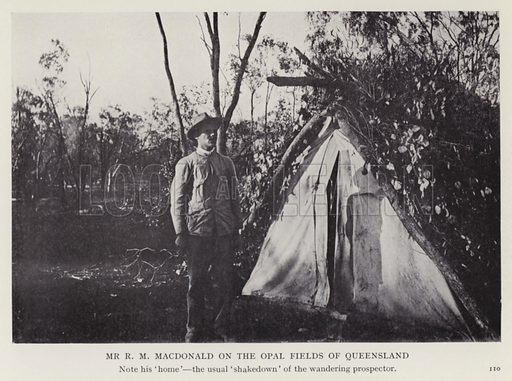 Mr R M Macdonald on the Opal Fields of Queensland. Illustration for More Heroes of Modern Adventure by T C Bridges and H Hessell Tiltman (Harrap, 1929).