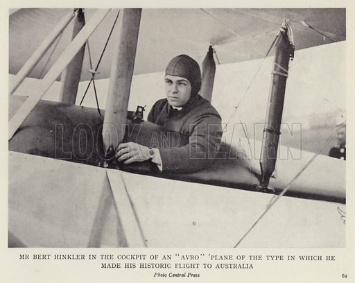 "Mr Bert Hinkler in the cockpit of an ""Avro"" plane of the type in which he made his historic flight to Australia. Illustration for More Heroes of Modern Adventure by T C Bridges and H Hessell Tiltman (Harrap, 1929)."