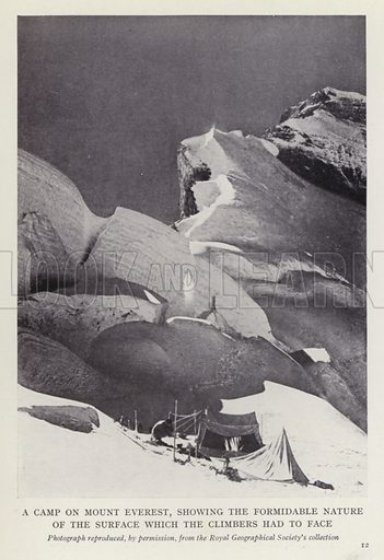 A camp on Mount Everest, showing the formidable nature of the surface which the climbers had to face. Illustration for More Heroes of Modern Adventure by T C Bridges and H Hessell Tiltman (Harrap, 1929).