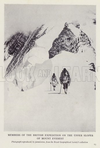 Members of the British expedition on the upper slopes of Mount Everest. Illustration for More Heroes of Modern Adventure by T C Bridges and H Hessell Tiltman (Harrap, 1929).