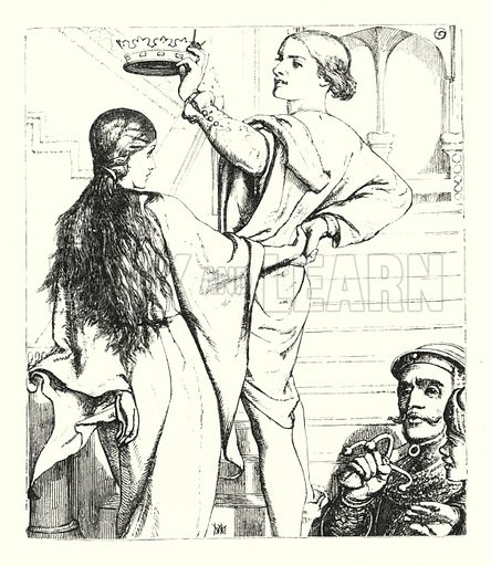The Beggar Maid. Illustration of Poems by Alfred Lord Tennyson (Macmillan, 1893).