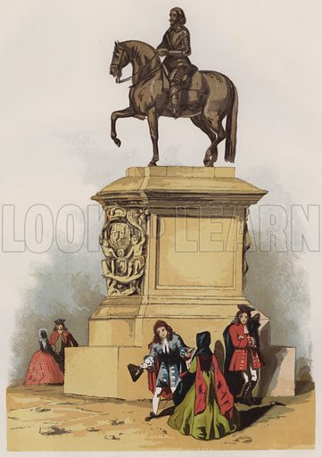 Statue of Charles I at Charing Cross. Illustration for Old England's Worthies by Lord Brougham (James Sangster, nd).
