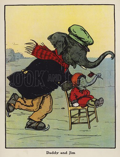 Daddy and Jim. Illustration for Jumbo's Fun Book illustrated by Harry B Neilson (Blackie, nd).