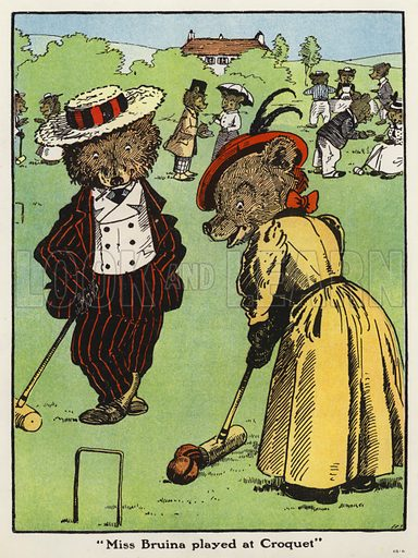 """Miss Bruina played at Croquet."" Illustration for Jumbo's Jolly Tales by Harry B Neilson (Blackie, nd)."