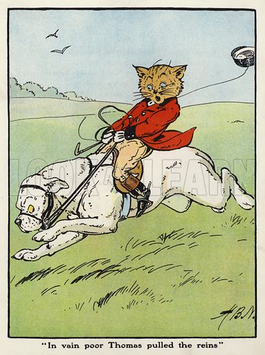 """In vain poor Thomas pulled the reins."" Illustration for Jumbo's Jolly Tales by Harry B Neilson (Blackie, nd)."