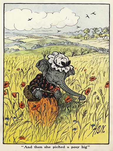 """And then she picked a posy big."" Illustration for Jumbo's Jolly Tales by Harry B Neilson (Blackie, nd)."